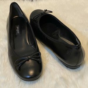 PAUL GREEN Black Leather Ballet Flats Bow Detail